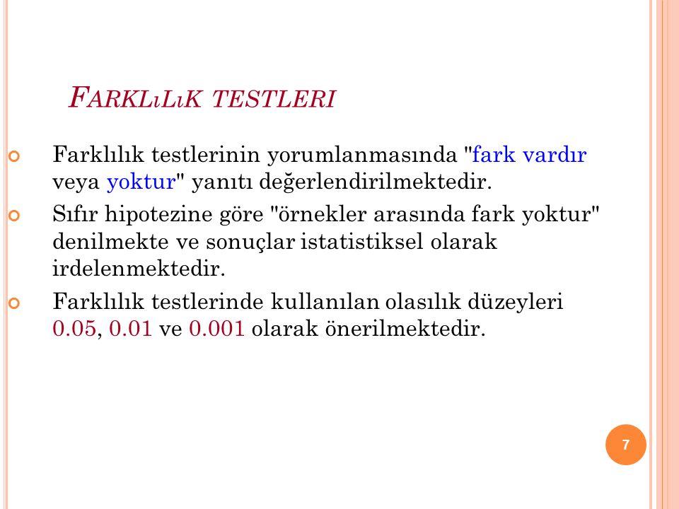 Farklılık testleri Farklılık testlerinin yorumlanmasında fark vardır veya yoktur yanıtı değerlendirilmektedir.