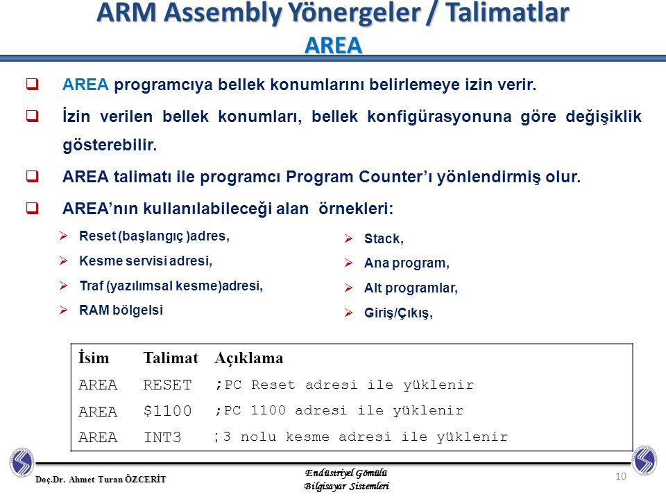 ARM Assembly Yönergeler / Talimatlar AREA