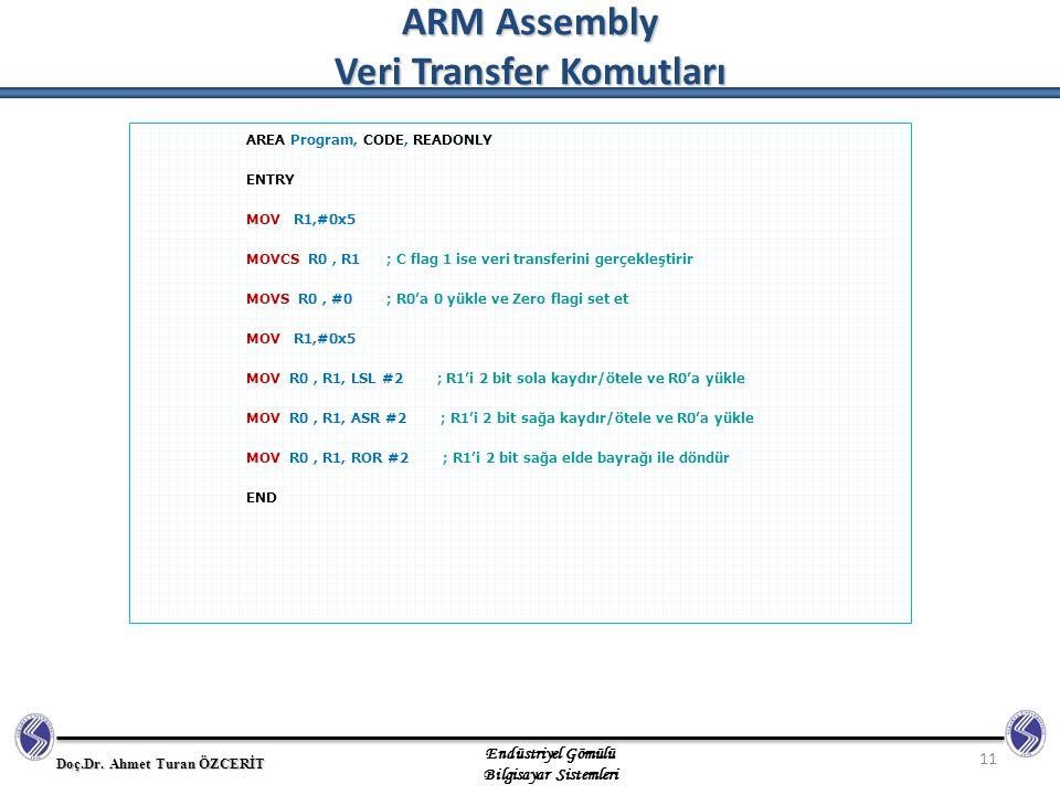 ARM Assembly Veri Transfer Komutları