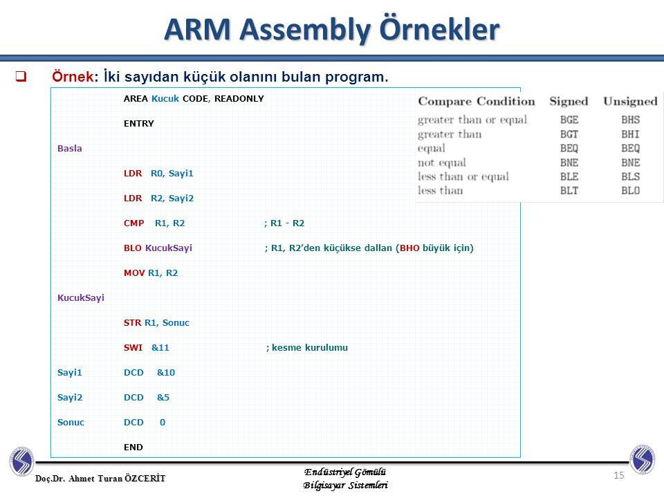 ARM Assembly Örnekler Örnek: İki sayıdan küçük olanını bulan program.