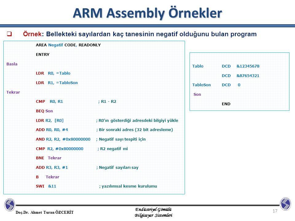 ARM Assembly Örnekler Örnek: Bellekteki sayılardan kaç tanesinin negatif olduğunu bulan program. AREA Negatif CODE, READONLY.