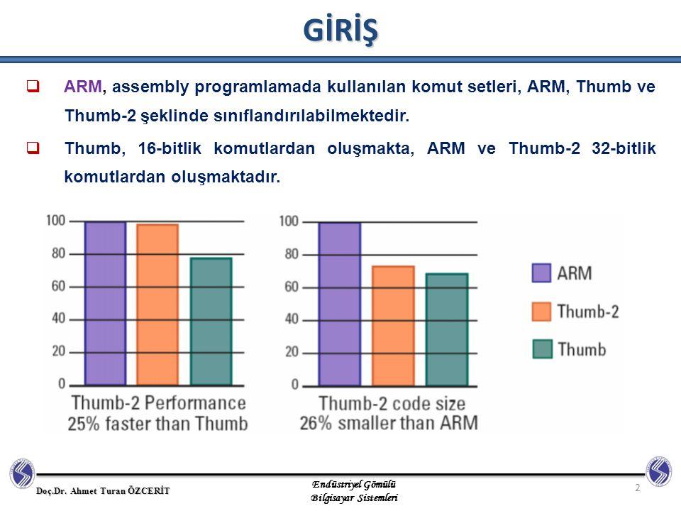 GİRİŞ ARM, assembly programlamada kullanılan komut setleri, ARM, Thumb ve Thumb-2 şeklinde sınıflandırılabilmektedir.
