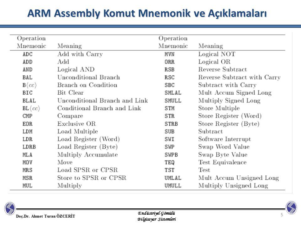 ARM Assembly Komut Mnemonik ve Açıklamaları