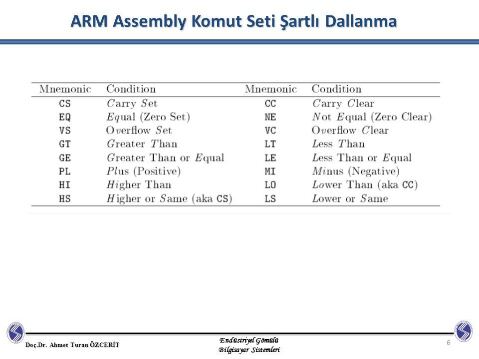 ARM Assembly Komut Seti Şartlı Dallanma
