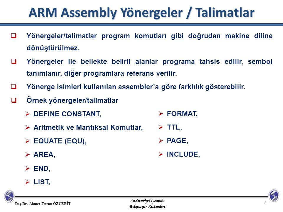ARM Assembly Yönergeler / Talimatlar