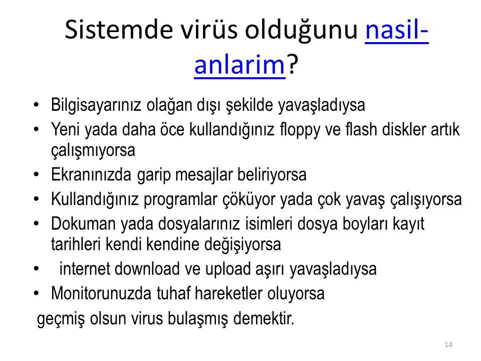 Sistemde virüs olduğunu nasil-anlarim