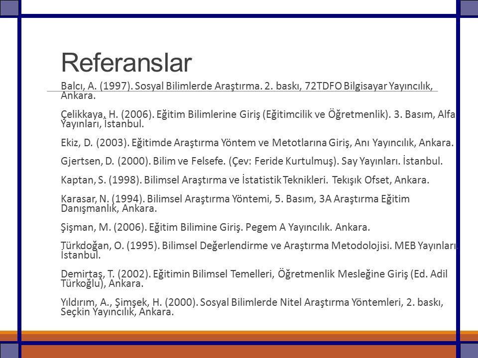 Referanslar Balcı, A. (1997). Sosyal Bilimlerde Araştırma. 2. baskı, 72TDFO Bilgisayar Yayıncılık, Ankara.