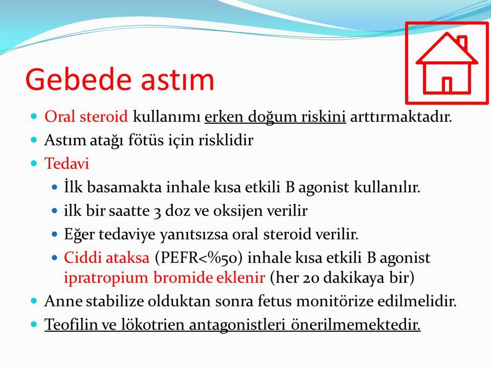 Gebede astım Oral steroid kullanımı erken doğum riskini arttırmaktadır. Astım atağı fötüs için risklidir.