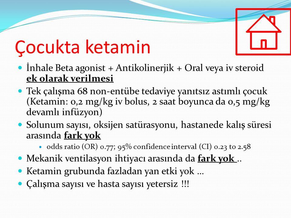 Çocukta ketamin İnhale Beta agonist + Antikolinerjik + Oral veya iv steroid ek olarak verilmesi.
