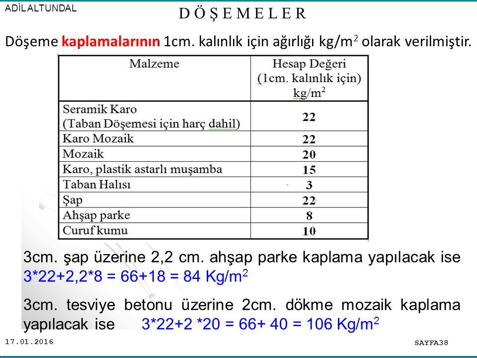 ADİL ALTUNDAL D Ö Ş E M E L E R. Döşeme kaplamalarının 1cm. kalınlık için ağırlığı kg/m2 olarak verilmiştir.