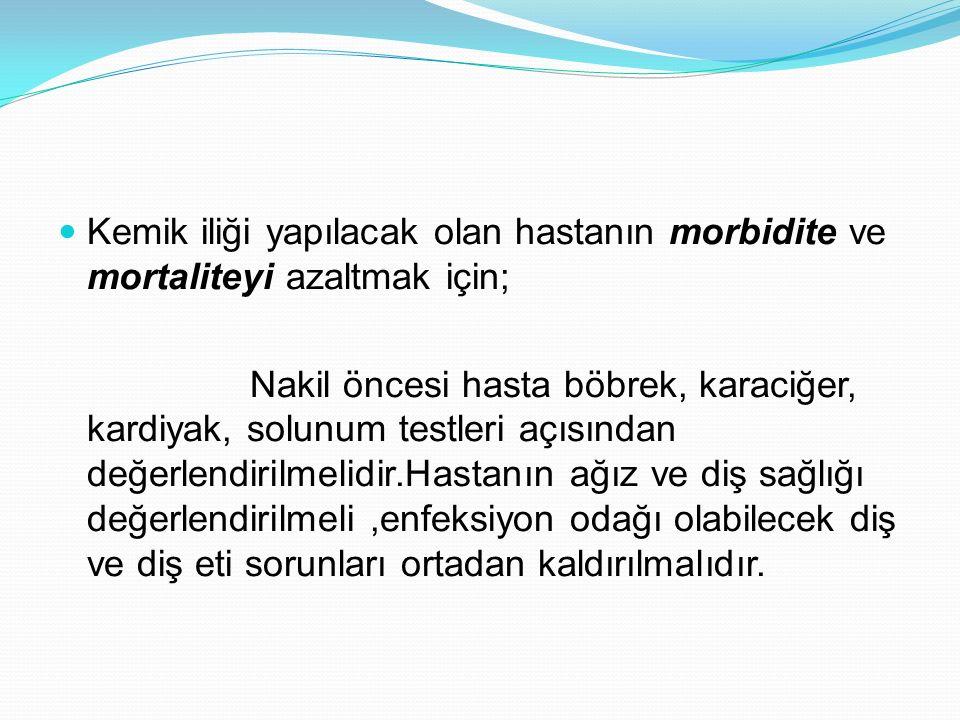 Kemik iliği yapılacak olan hastanın morbidite ve mortaliteyi azaltmak için;