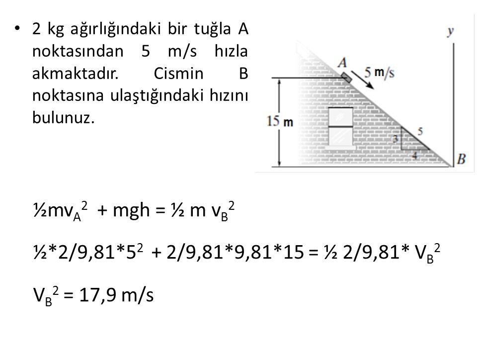 ½mvA2 + mgh = ½ m vB2 ½*2/9,81*52 + 2/9,81*9,81*15 = ½ 2/9,81* VB2