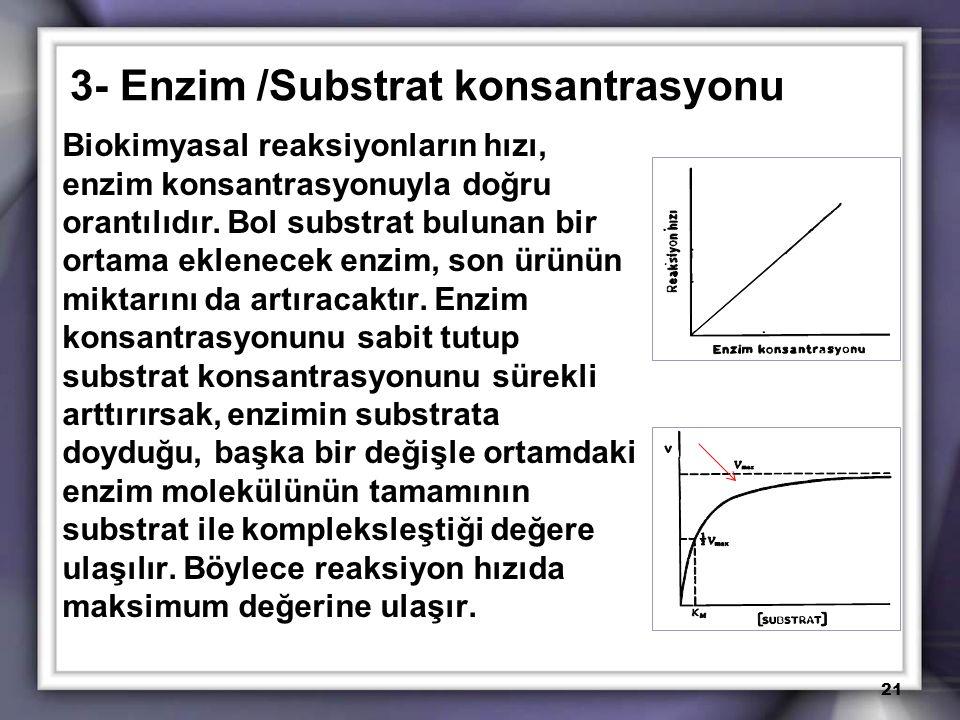 3- Enzim /Substrat konsantrasyonu