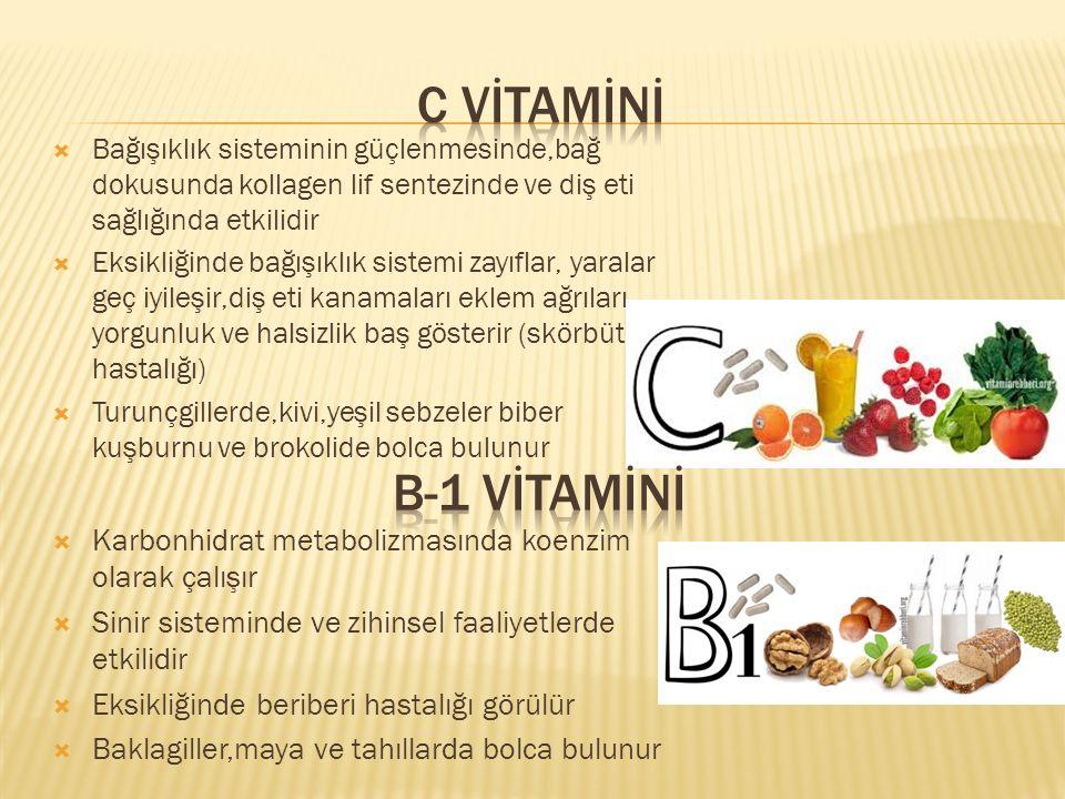 C vİTAMİNİ Bağışıklık sisteminin güçlenmesinde,bağ dokusunda kollagen lif sentezinde ve diş eti sağlığında etkilidir.
