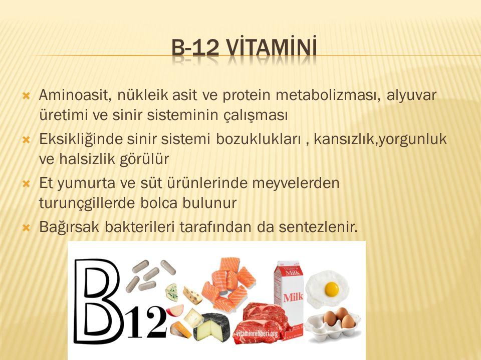 B-12 VİTAMİNİ Aminoasit, nükleik asit ve protein metabolizması, alyuvar üretimi ve sinir sisteminin çalışması.