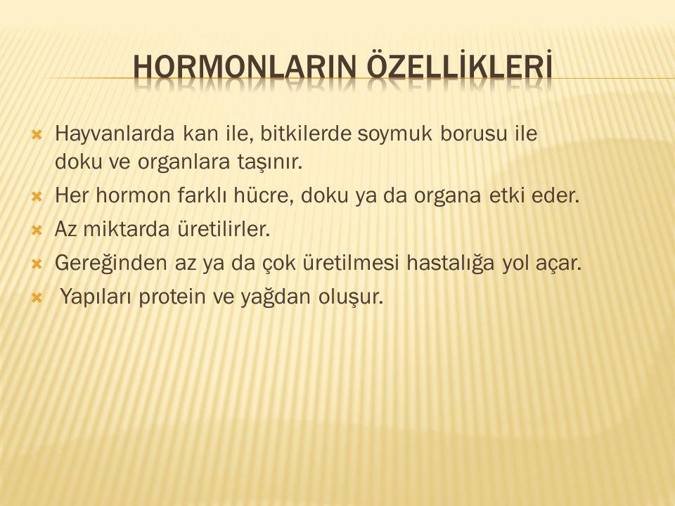 Hormonlarin ÖZELLİKLERİ