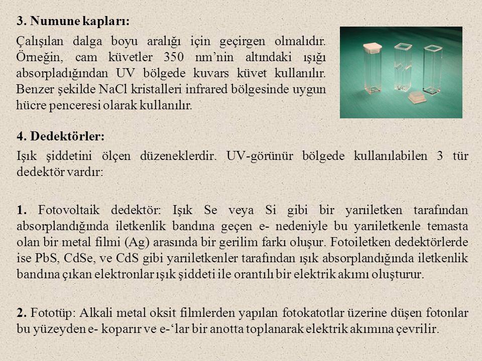 3. Numune kapları: 4. Dedektörler: Işık şiddetini ölçen düzeneklerdir