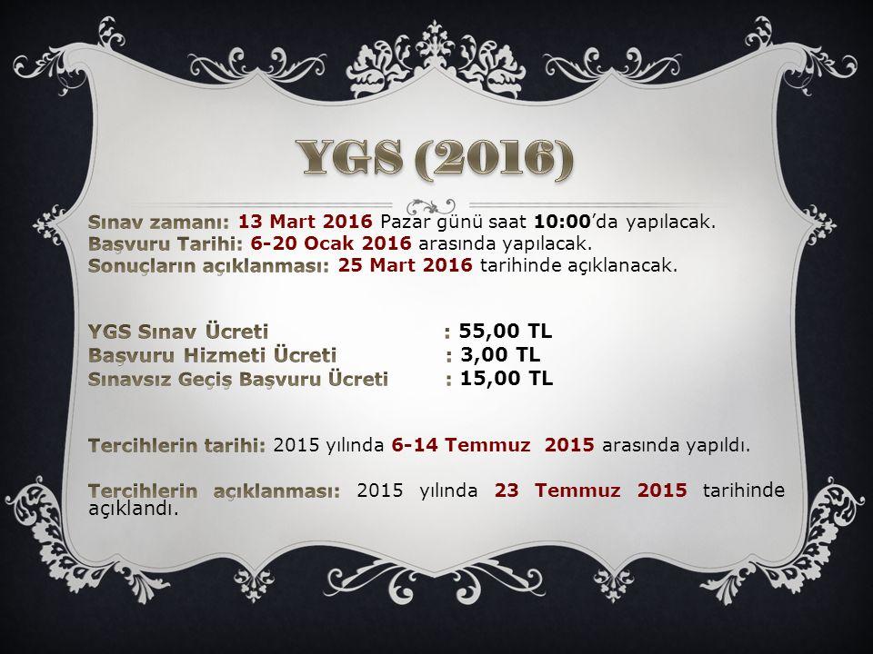 YGS (2016) YGS Sınav Ücreti : 55,00 TL