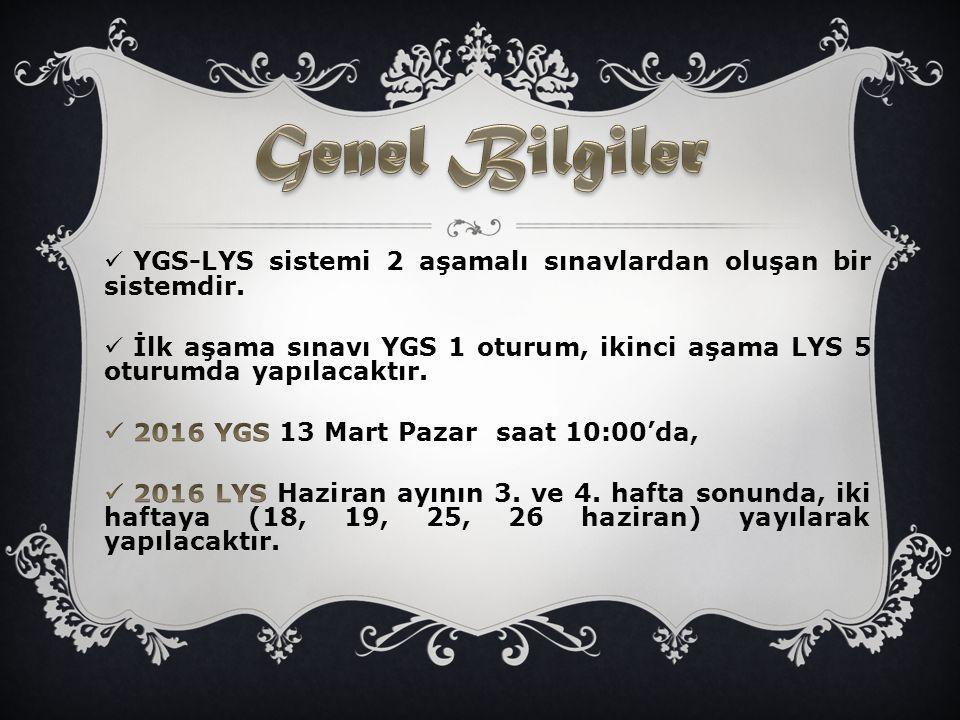 Genel Bilgiler YGS-LYS sistemi 2 aşamalı sınavlardan oluşan bir sistemdir. İlk aşama sınavı YGS 1 oturum, ikinci aşama LYS 5 oturumda yapılacaktır.