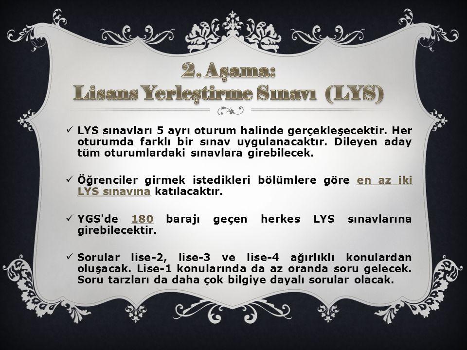 2. Aşama: Lisans Yerleştirme Sınavı (LYS)