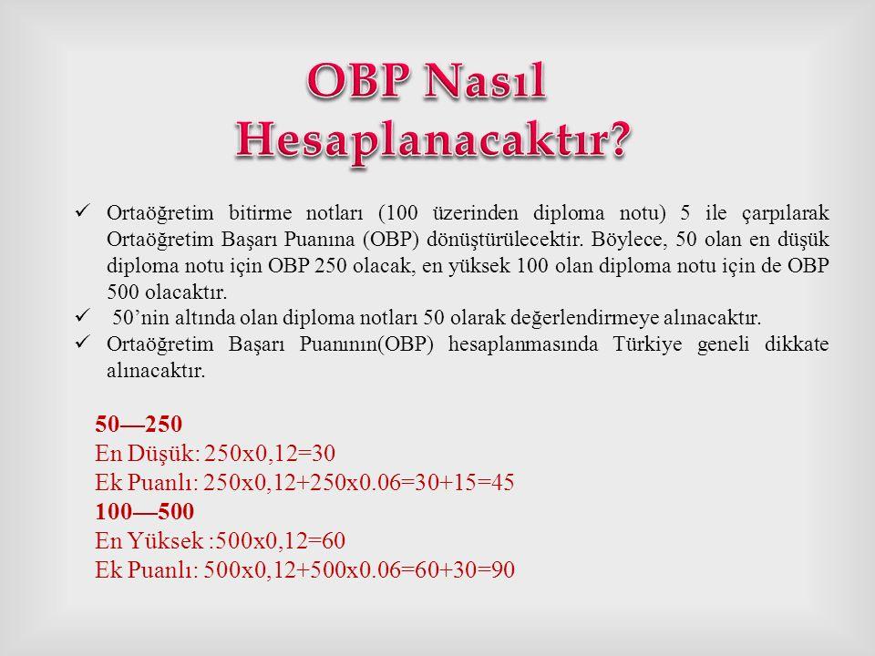 OBP Nasıl Hesaplanacaktır