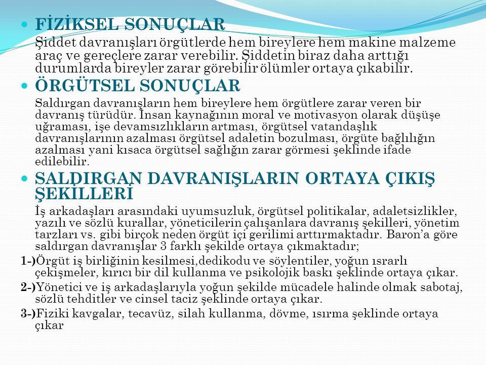 SALDIRGAN DAVRANIŞLARIN ORTAYA ÇIKIŞ ŞEKİLLERİ