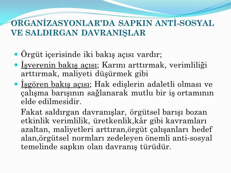 ORGANİZASYONLAR'DA SAPKIN ANTİ-SOSYAL VE SALDIRGAN DAVRANIŞLAR