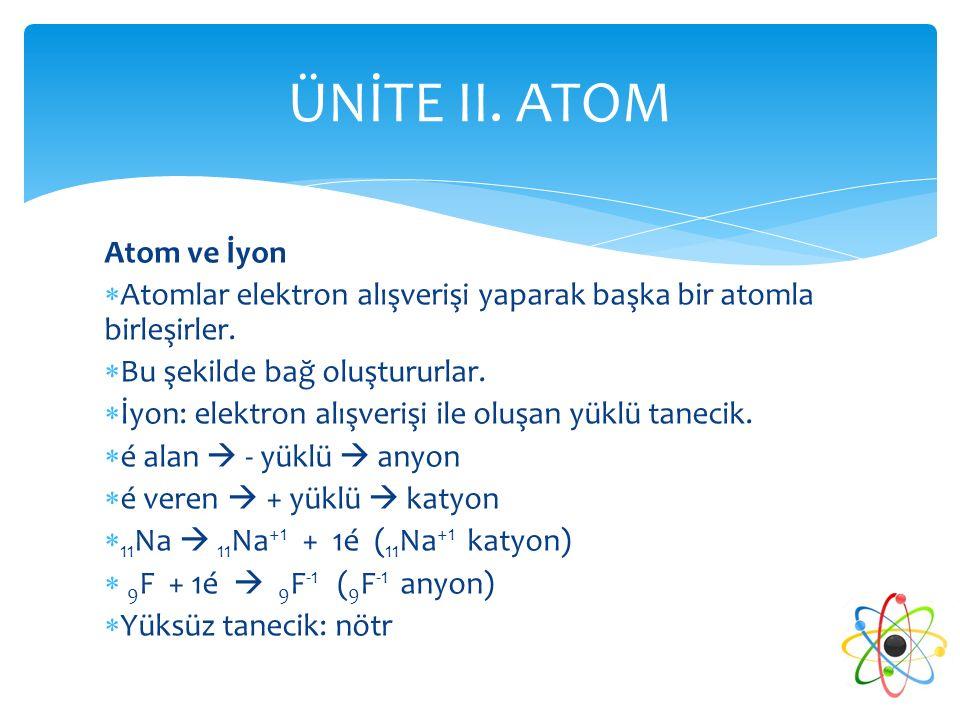ÜNİTE II. ATOM Atom ve İyon
