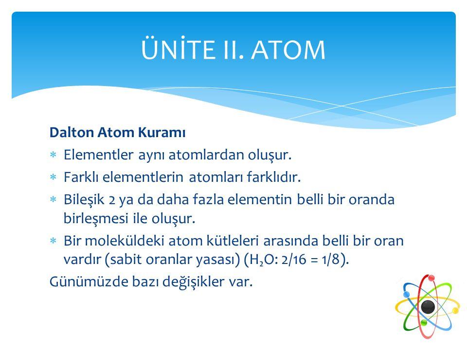 ÜNİTE II. ATOM Dalton Atom Kuramı Elementler aynı atomlardan oluşur.