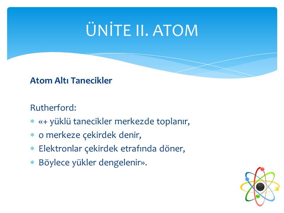 ÜNİTE II. ATOM Atom Altı Tanecikler Rutherford: