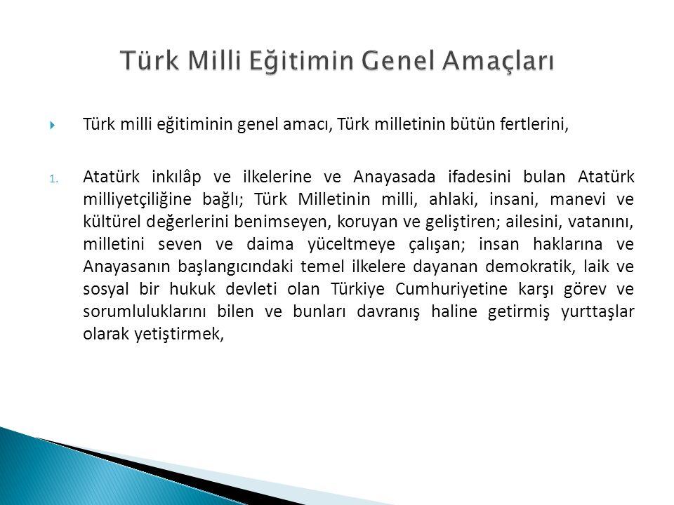 Türk Milli Eğitimin Genel Amaçları