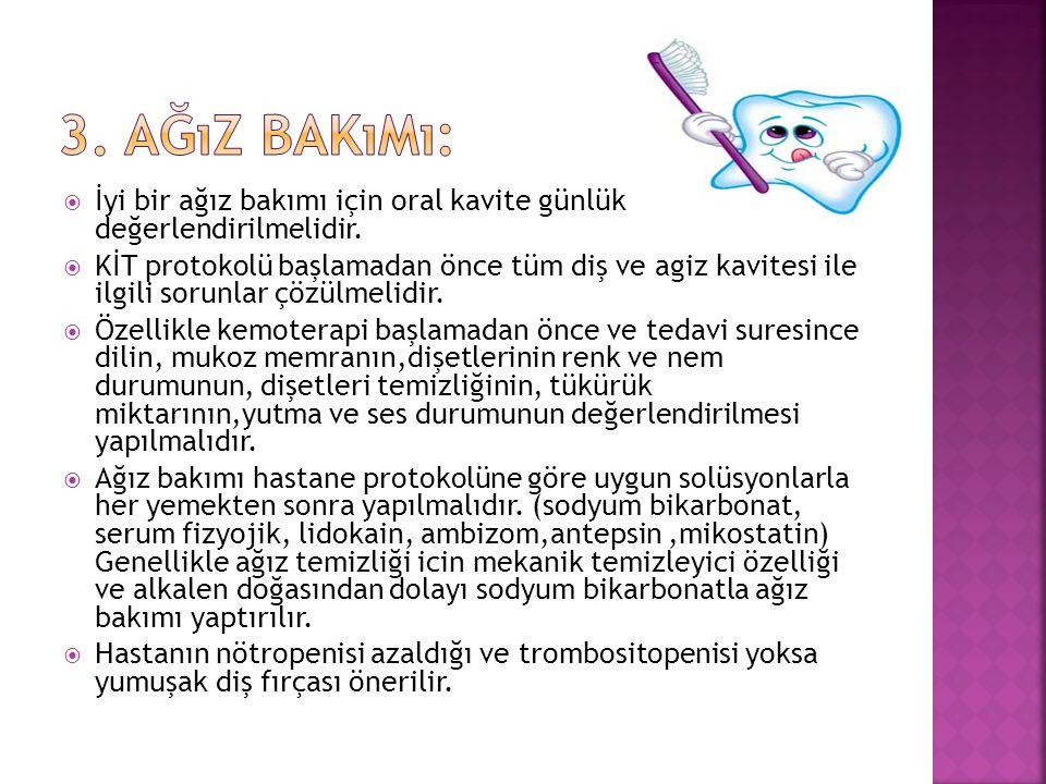 3. Ağız Bakımı: İyi bir ağız bakımı için oral kavite günlük değerlendirilmelidir.