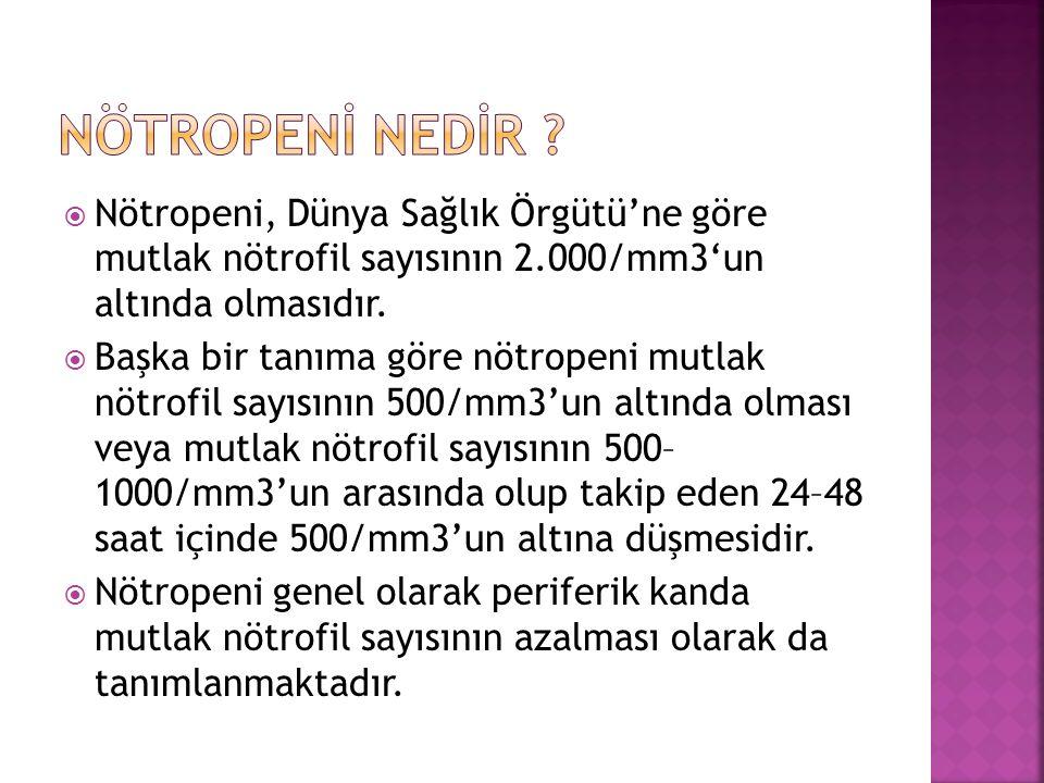 NÖTROPENİ NEDİR Nötropeni, Dünya Sağlık Örgütü'ne göre mutlak nötrofil sayısının 2.000/mm3'un altında olmasıdır.