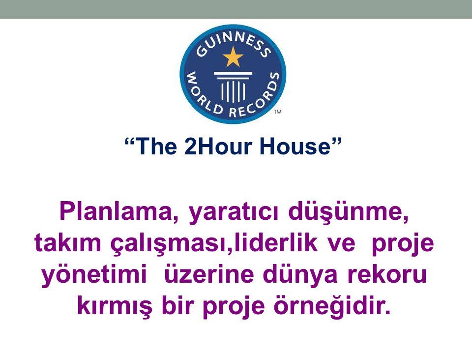 The 2Hour House Planlama, yaratıcı düşünme, takım çalışması,liderlik ve proje yönetimi üzerine dünya rekoru kırmış bir proje örneğidir.