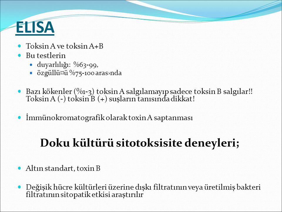 ELISA Doku kültürü sitotoksisite deneyleri; Toksin A ve toksin A+B