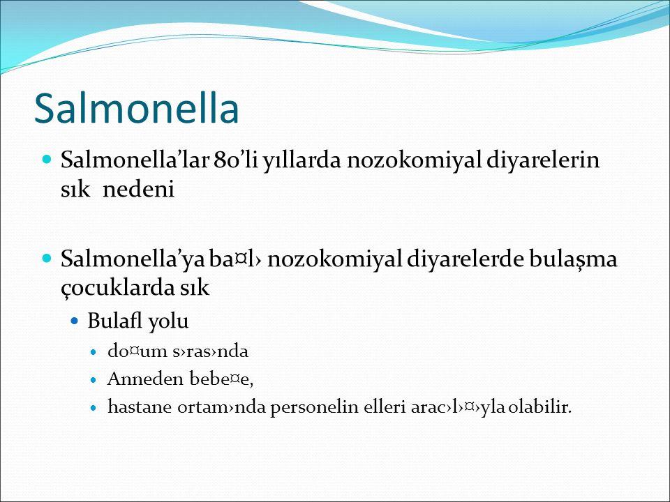 Salmonella Salmonella'lar 80'li yıllarda nozokomiyal diyarelerin sık nedeni. Salmonella'ya ba¤l› nozokomiyal diyarelerde bulaşma çocuklarda sık.