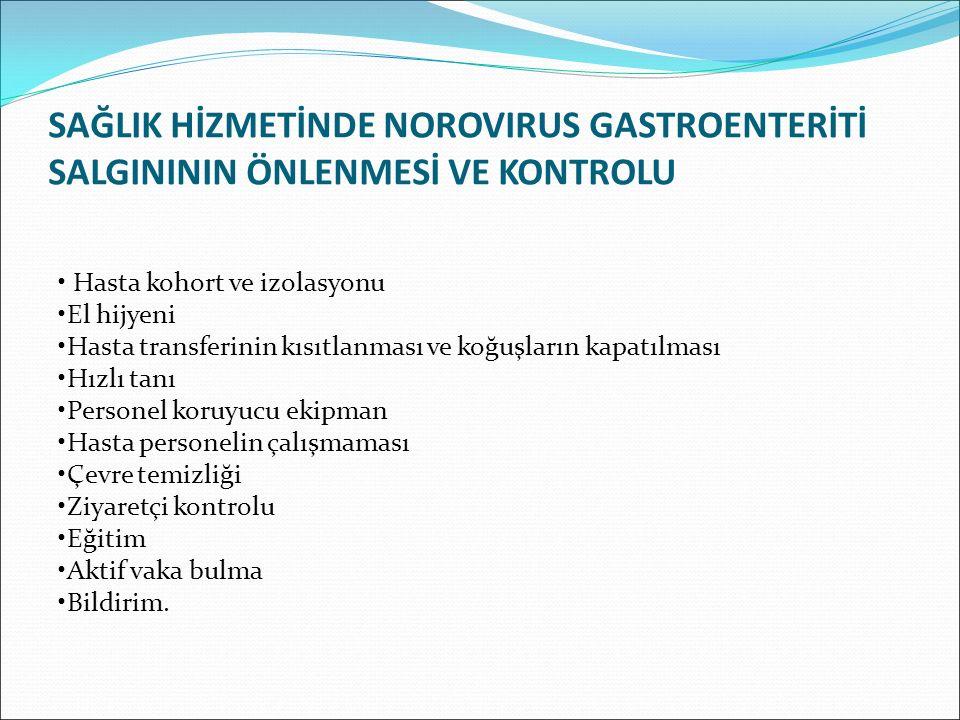 SAĞLIK HİZMETİNDE NOROVIRUS GASTROENTERİTİ SALGINININ ÖNLENMESİ VE KONTROLU