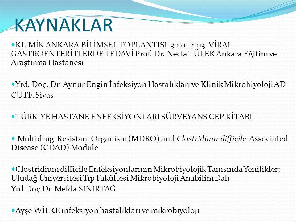 KAYNAKLAR KLİMİK ANKARA BİLİMSEL TOPLANTISI 30.01.2013 VİRAL GASTROENTERİTLERDE TEDAVİ Prof. Dr. Necla TÜLEK Ankara Eğitim ve Araştırma Hastanesi.
