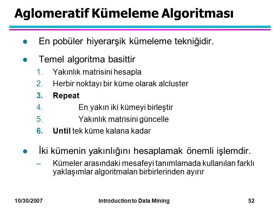 Aglomeratif Kümeleme Algoritması