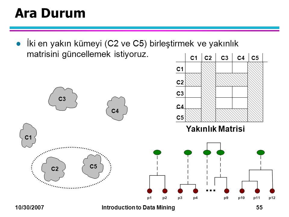Ara Durum İki en yakın kümeyi (C2 ve C5) birleştirmek ve yakınlık matrisini güncellemek istiyoruz.