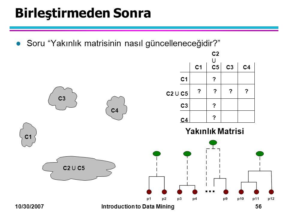 Birleştirmeden Sonra Soru Yakınlık matrisinin nasıl güncelleneceğidir C2 U C5. C1. C3. C4. C1.