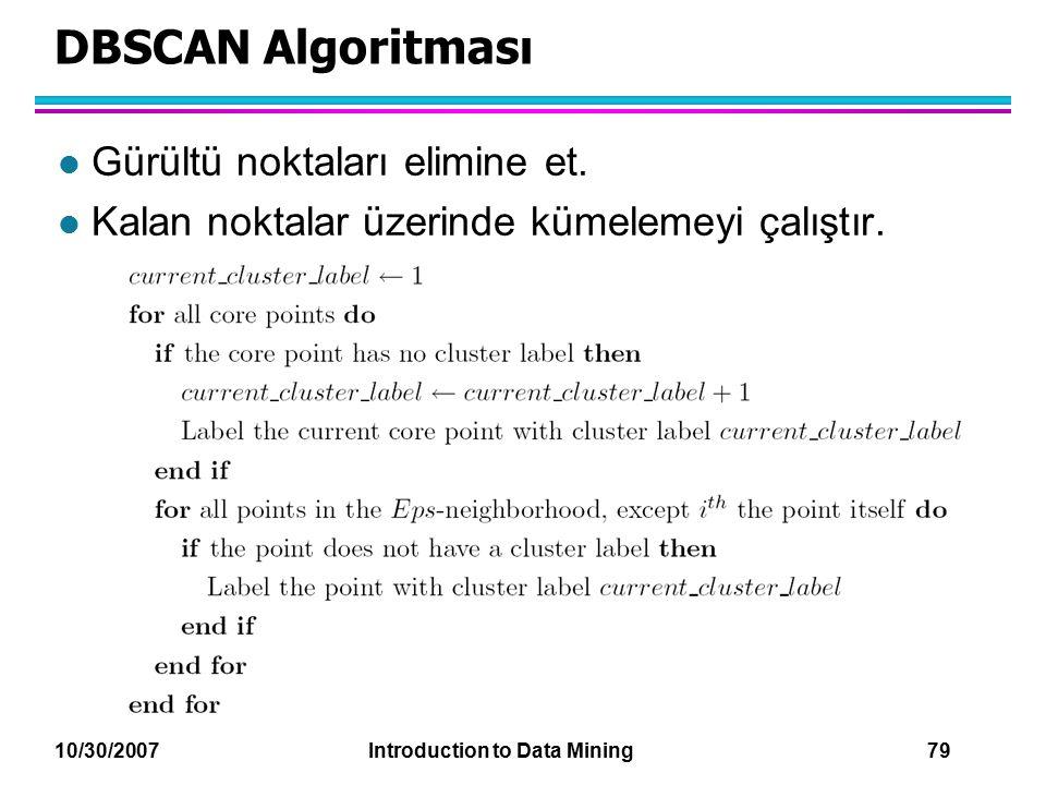 DBSCAN Algoritması Gürültü noktaları elimine et.