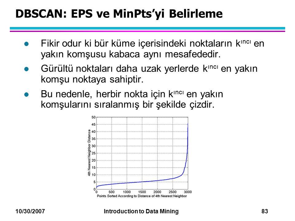 DBSCAN: EPS ve MinPts'yi Belirleme