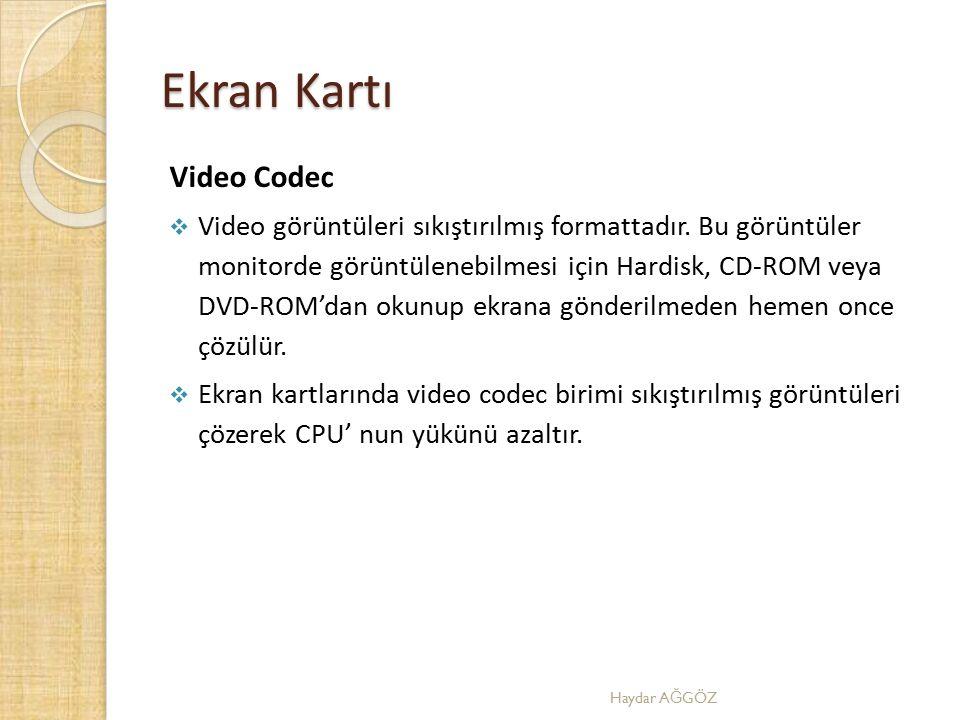 Ekran Kartı Video Codec