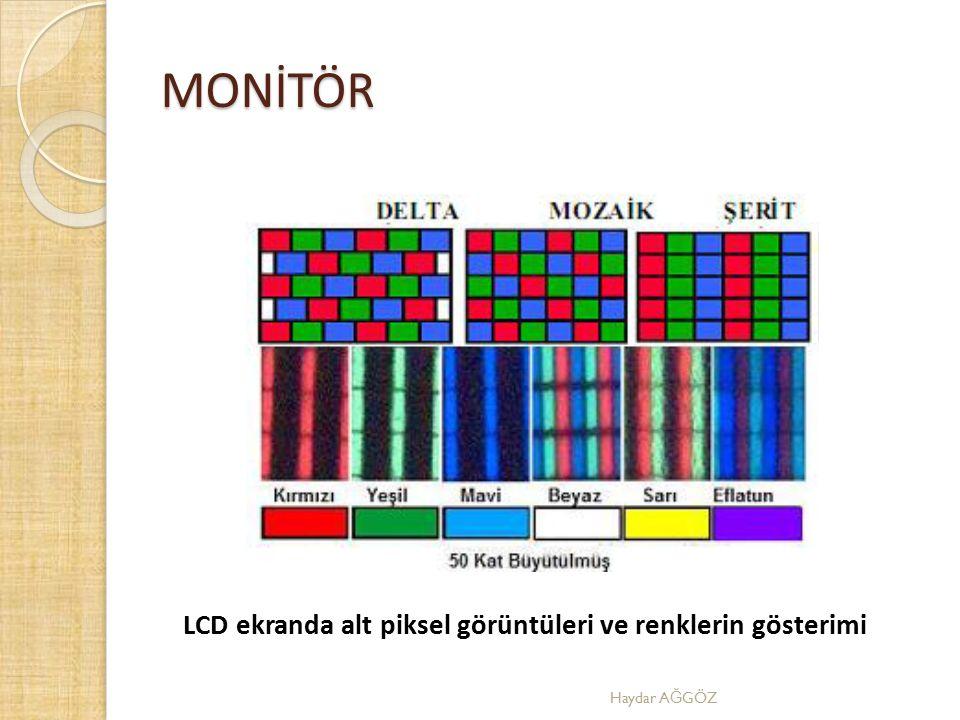 LCD ekranda alt piksel görüntüleri ve renklerin gösterimi