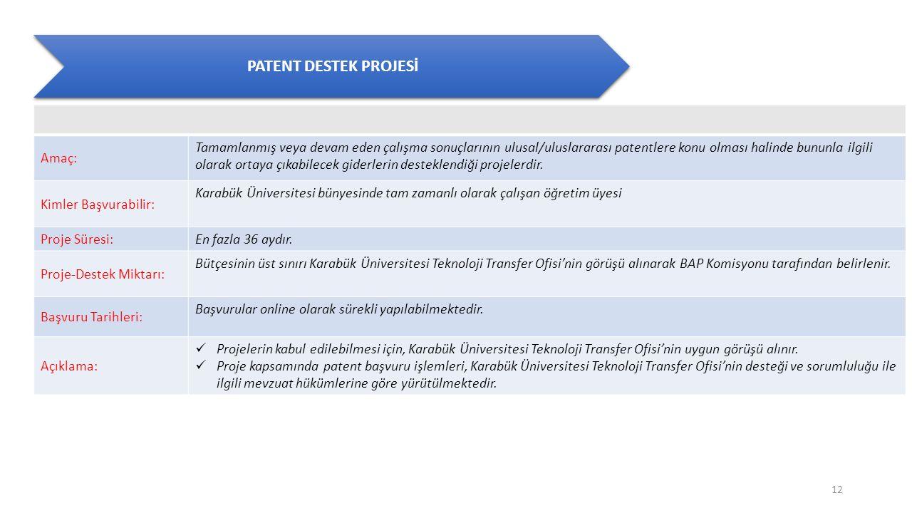 PATENT DESTEK PROJESİ Amaç: