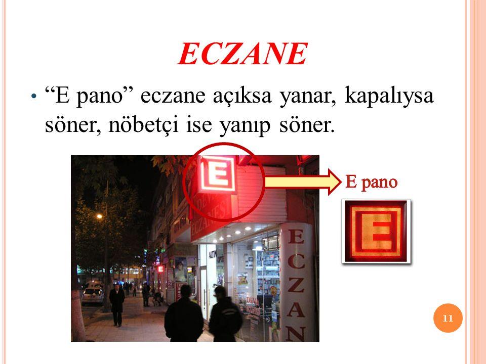 ECZANE E pano eczane açıksa yanar, kapalıysa söner, nöbetçi ise yanıp söner. E pano. Çalışma saatleri yaz ve kış.