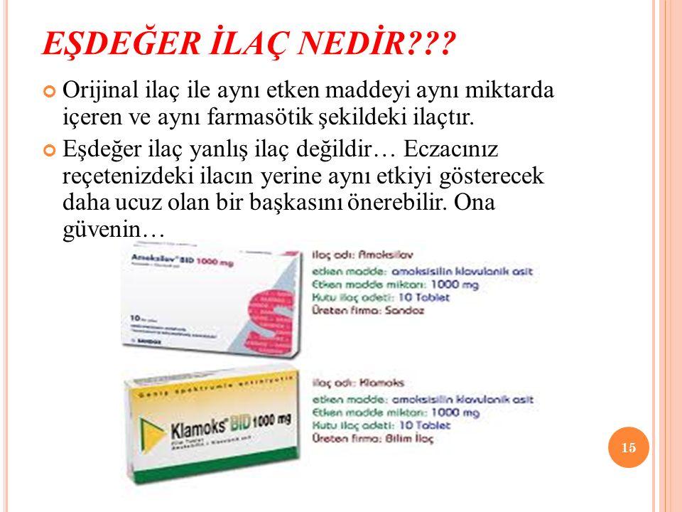 EŞDEĞER İLAÇ NEDİR Orijinal ilaç ile aynı etken maddeyi aynı miktarda içeren ve aynı farmasötik şekildeki ilaçtır.
