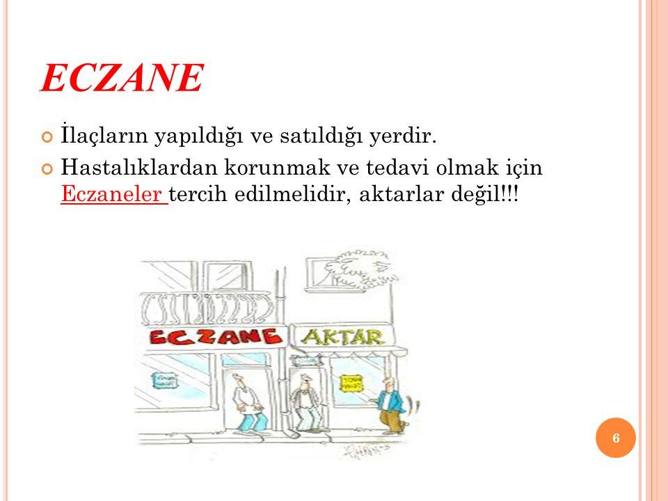ECZANE İlaçların yapıldığı ve satıldığı yerdir.