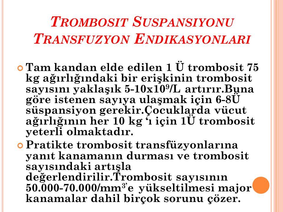 Trombosit Suspansiyonu Transfuzyon Endikasyonlari